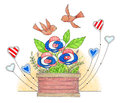 Cute illustration of red white and blue flowers in a planter patriotic hearts and cute birds flying above Royalty Free Stock Photos