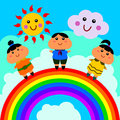 A cute illustration of three happy people on a rainbow Royalty Free Stock Images