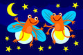 Cute illustration two fireflies dancing having night party Royalty Free Stock Photography