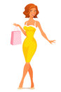 Cute illustration of a young woman in retro dress shopping Stock Photos