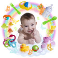 Cute infant baby with accessories in a rainbow