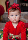 Cute Infant Baby in Christmas Costume Royalty Free Stock Image