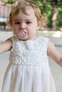 Cute infant with tear image of baby girl Royalty Free Stock Photography