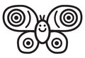 Cute insect butterfly illustration simple black and white for logo Royalty Free Stock Images