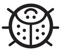 Cute insect ladybird illustration simple black and white for logo Royalty Free Stock Photos