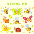 Cute insects set of funny and cartoon Royalty Free Stock Photo
