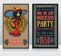 Cute invitation cards for dia de los muertos