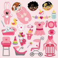 Cute items for baby girl.Baby shower icons Royalty Free Stock Photo