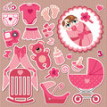 Cute items for european baby girl strips background a set of cartoon elements newborn cartoon icons scrapbooking elements in Stock Image