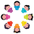 Cute japanese kokeshi dolls in circle Stock Photo