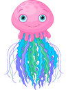 Cute jellyfish illustration of cartoon Royalty Free Stock Images