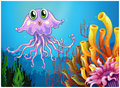 A cute jellyfish near the coral reefs illustration of on white background Royalty Free Stock Images