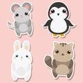 Cute kawaii animals stickers set. Vector illustration. Mouse, penguin, cat, rabbit Royalty Free Stock Photo