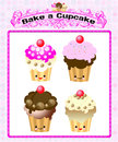 Cute kawaii cup cake Royalty Free Stock Photos