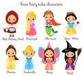 Cute kawaii fairy tales characters. Snow white, red riding hood, rapunzel, cinderella and other princess in beautiful dresses. Car