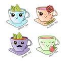 Cute Kawaii Hot Tea Cup Teabag Vector Illustration