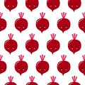 Cute kawaii purple vegetable beet, beetroot with smiling face, eyes and green leaves seamless vectot pattern on white background