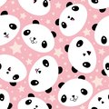 Cute Kawaii style laughing pandas and stars. Seamless vector pattern on soft pink background. Great for children, school