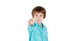 A cute kid accusing pointing fingers closeup portrait of adorable serious at you or camera gesture isolated on white background Royalty Free Stock Photos