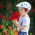 Cute kid boy with poppy flower on poppy field on warm summer day Royalty Free Stock Photo
