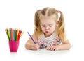 Cute kid drawing Royalty Free Stock Photo