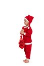 Cute kid dressed as santa holding bag full of christmas bulb Royalty Free Stock Photography