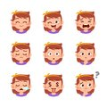 cute kid face expression emoji emoticon set Royalty Free Stock Photo