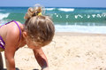 Cute kid girl playing at the beach Royalty Free Stock Photography