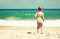 Cute kid girl playing at the beach Royalty Free Stock Images