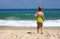 Cute kid girl playing at the beach Stock Image