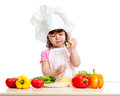 Cute kid preparing healthy food Royalty Free Stock Photo
