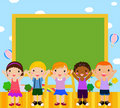 Cute kids with blackboard Stock Images