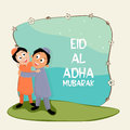 Cute kids celebrating eid al adha festival happy islamic boys hugging and giving wishing to each other on occasion of muslim Stock Photos