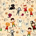 Cute kids in halloween costumes seamless background with Royalty Free Stock Images