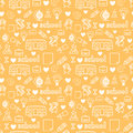 Cute kids love school doodle seamless pattern line Stock Images