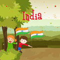 Cute kids with national flag for indian republic day little holding and enjoying on occasion of and independence on nature view Royalty Free Stock Photos