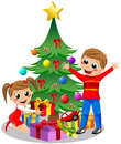 Cute kids opening christmas gifts illustration featuring their next to tree isolated on white background eps file is Stock Photography