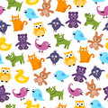 Cute kids pattern seamless with cartoon animals Stock Photo