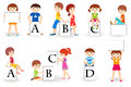 Cute kids with placards vector illustration of ute letters Stock Photography