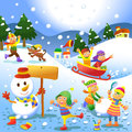 Cute kids playing winter games eps file simple gradients no effects no mesh no transparencies all in separate layer and group for Stock Image