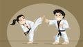 Cute kids practicing martial arts