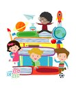 Cute kids reading book,cute children reading books, Happy Children while Reading Books, Vector Illustration on white background Royalty Free Stock Photo