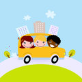 Cute kids in school bus on the hill Royalty Free Stock Photography