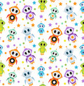 Cute kids seamless pattern robot rocket. Children endless background, texture, wallpaper. Vector illustration. Royalty Free Stock Photo