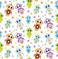 Cute kids seamless pattern robot rocket. Children endless background, texture, wallpaper. Vector illustration.