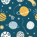 stock image of  Cute Kids Space Vector Seamless Pattern