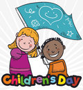 Cute Kids Waving a Greeting Flag Celebrating Children`s Day, Vector Illustration