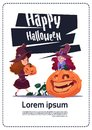 Cute Kids Wear Witch Costume Sit On Pumpkin, Happy Halloween Banner Party Celebration Concept Royalty Free Stock Photo
