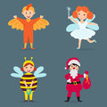 Cute kids wearing Christmas costumes vector characters little people isolated cheerful children holidays illustration