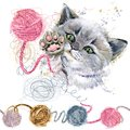 Cute kitten and ball of wool threads watercolor illustration